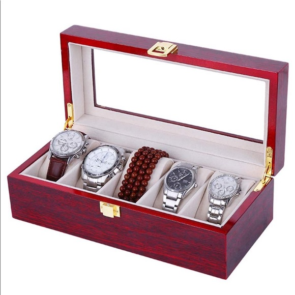 Luxury 5 Watch slot Red Wooden Jewelry Box w/Glass